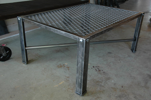 308 Console Table and an Industrial Metal Coffee Table Vintage