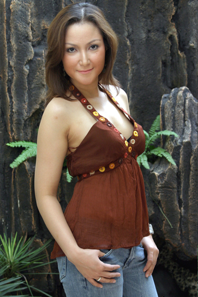 najwa abdullah in brown tank top