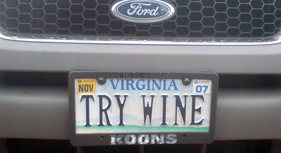 try wine license plate