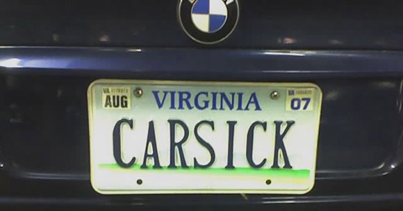 car sick license plate