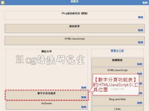 Blogspot 數字分頁功能表放置處