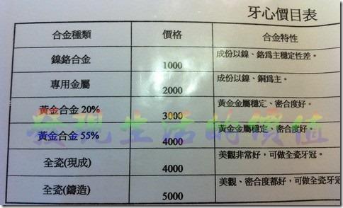 牙心價目表