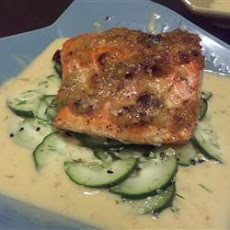 Ginger-Crusted Salmon with Cucumber Salad