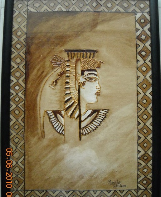Coffee painting egyptian queen pattern diy glass for Coffee painting ideas