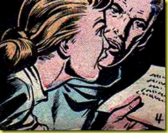 art of man and woman looking at a letter in rare comic book art