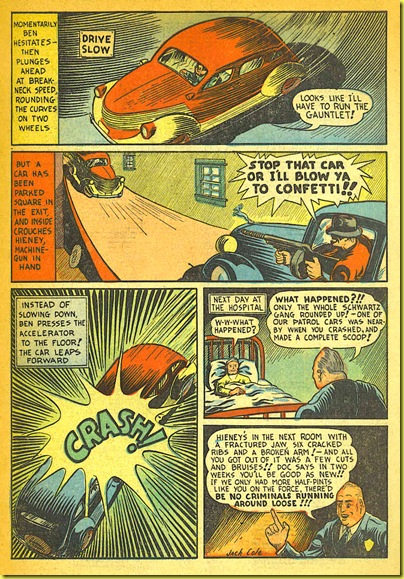 A car crash in a parking garage in a rare old comic book story called Little Dynamite by Plastic Man and Playboy artist Jack Cole._6