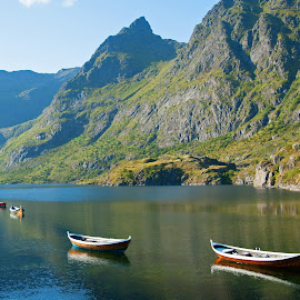 by Bente Agerup - Landscapes Mountains & Hills ( nature, boats, lakes, lofoten, norway )