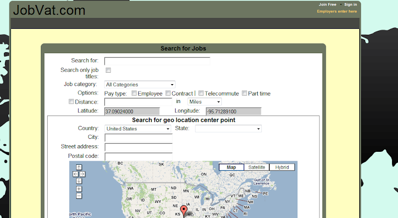 JobVat.com Job Seeker Search Screen