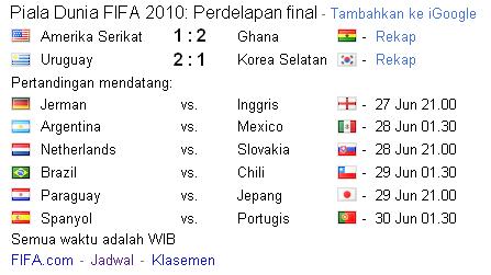Jadwal Perdelapan Final Fifa 2010 by Google (Fifa.com)