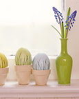 Dyed eggs with grass appliqué