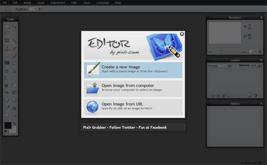 Pixlr screenshot - mulai