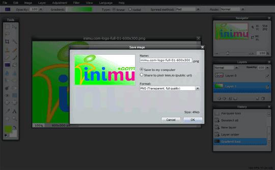 Pixlr screenshot - save gambar