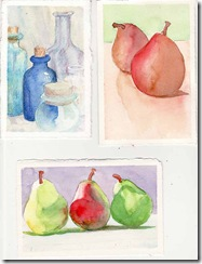 postcards 2 pear and a bottle