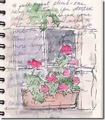 shellys geraniums in journal