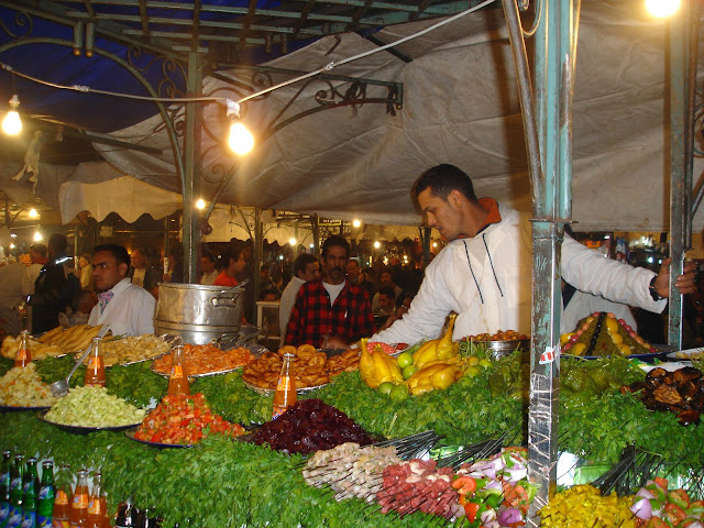 The Marrakech Market Square at Night. Best food in Marrakech - its delicious!