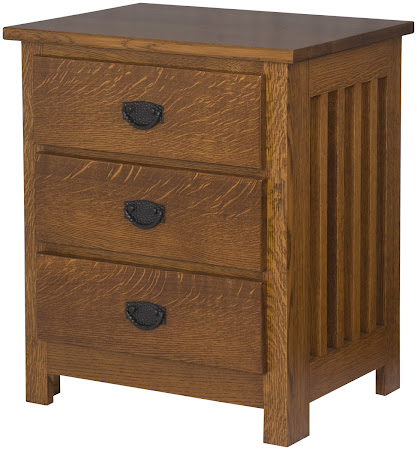 Mission Nightstand with Drawers, in Mahogany Oak