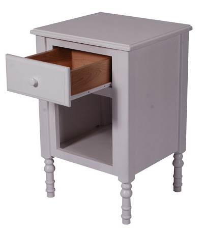 Matching Furniture Piece: Farmhouse Nightstand with Shelves, in Oak Hardwood, White Paint