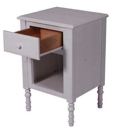 Farmhouse Nightstand with Shelf, Oak Hardwood, White Paint