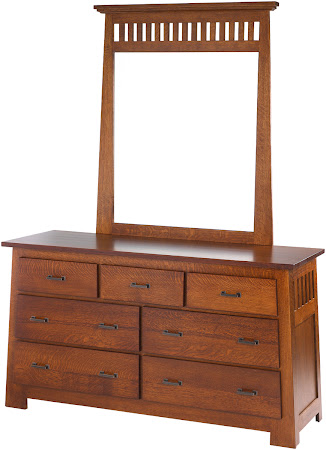 Teton Horizontal Dresser with Mirror, in Rustic Quarter Sawn Oak