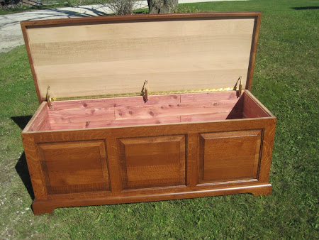 """42"""" wide Hudson Chest in Rustic Quarter Sawn Oak, with hardwood rear panel"""