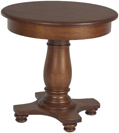 Round Lotus End Table Shown in Mahogany Quarter Sawn Oak
