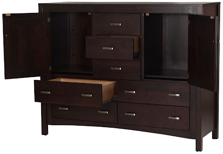 "Matching Furniture Piece: 50"" x 50"" Dakota Wardrobe Dresser in Mocha Walnut, Custom Hardware"