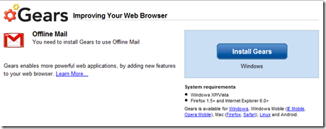 Installing Gears for Gmail Offline