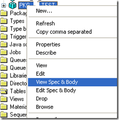 View Spec and Body option PL/SQL