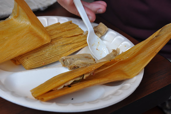 They have a stall that sells tamales in the indoor area.   They're good, but we've had better.
