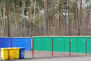 Colourful garages and bins