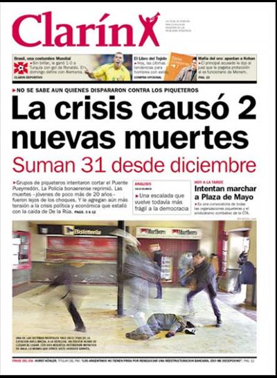la crisis causo 2 muertos