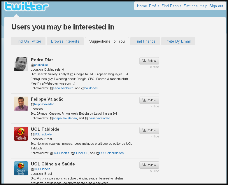 Sugestões de Following do Twitter