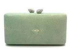 KOTUR jB RennaShagreen Stingray Green Clutch at Shirise