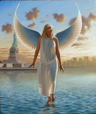 anjo com asas,andando sobre as águas,mulher,angel