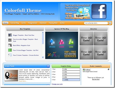 Colourfull Theme Blogger Template
