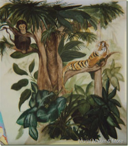tiger & monkey mural