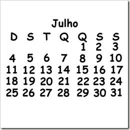calendario julho 2010