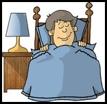 Little Boy Sound Asleep, Tucked Into Bed Clipart