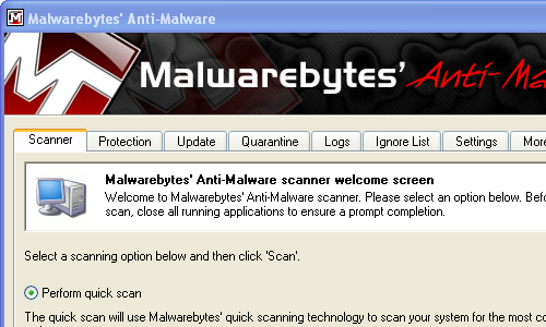 Is the malwarebytes anti malware free versions phone popup screen