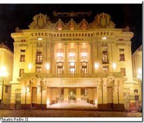 Noite. Fachada do Teatro Pedro II - Ribeirão Preto