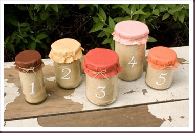 DIY Table numbers - Jar