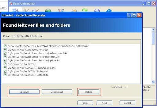 Revo Uninstaller files