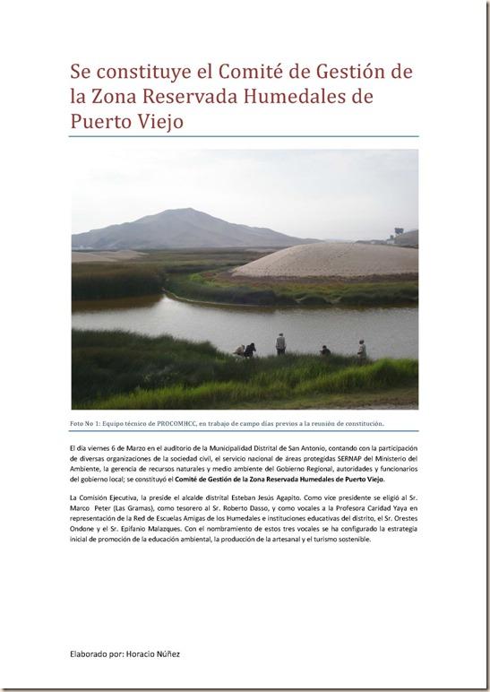 Se constituye el Comité de Gesvada Humedales de Puerto Viejo 1