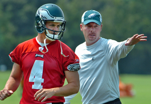 Shurmur and Kolb on the Eagles practice field