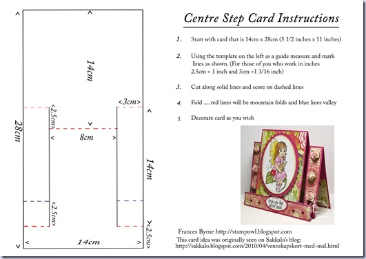 Centre Step Card instructions