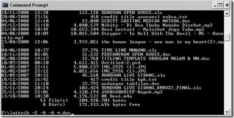 Mengembalikan file yg sembunyikan virus