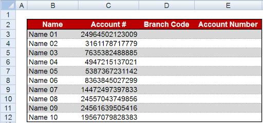 فصل كود فرع البنك عن رقم الحساب 1