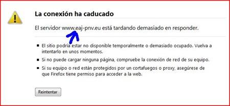 Ataque a las webs Así se vio la pagina del PNV