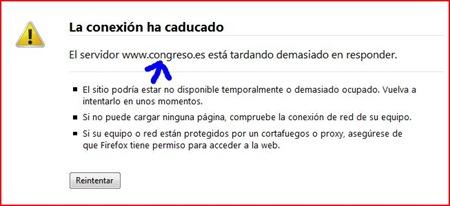 Ataque a las webs Así se vio la pagina del Congreso