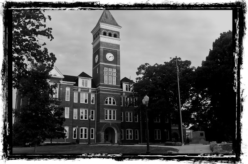 Clemson University Campus Tillman Hall Photo Black and White Image Eugene T. Moore School of Education